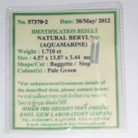 gemstone: อะคัวมารีน-Aquamarine size: 13.87x4.57x3.44 carat: 1.71Ct.