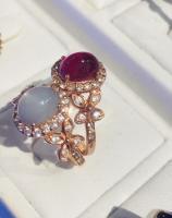 ruby ring แหวน พลอยทับทิม พลอยแดง moonstone มุกดาหาร มูนสโตน ราศีเมถุน  พลอยแท้เม็ดเดี่ยว pink gold วันเกิด แก้ชง ดูดวง อัญมณี ราศีกรกฏ เสริมดวง พลอยทำต่างหู