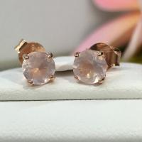 ต่างหู โรสควอทซ์ สีชมพู เสริมความรัก rose quartz stud earring pink gold