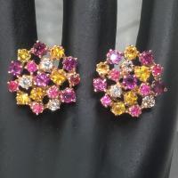 sapphire gems earring, ต่างหูพลอยซัฟไฟร์ บุษราคัม ทับทิม พลอยเสริมดวง วันเกิด ของขวัญ