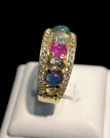 แหวนพลอยนพเก้า  Lucky gemstones ring เพชร เพทาย ไพลิน ทับทิม มรกต บุษราคัม โกเมน มุกดาหาร ไพฑูรย์ พลอยเสริมดวง ดูดวง แก้ชง เสริมราศี เสริมธาตุ พลอยแท้