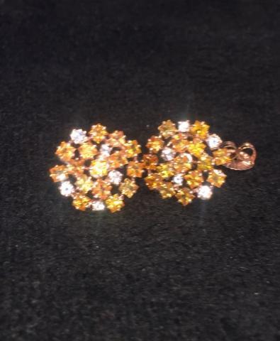 orange sapphire earring ต่างหู พลอยแท้ อัญมณี สีส้ม เสริมดวง วันพฤหัส การเงิน ของขวัญ มีใบเซอร์ ราคาโรงงาน