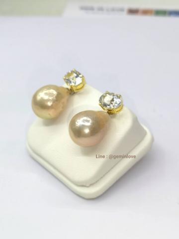 White Topaz pearl earring  ต่างหูพลอยขาว ไข่มุก  เพชรแท้ พลอยแท้ พลอยเสริมดวง สีขาว ดูดวง ราศี เมษ ของขวัญวันเกิด แก้ชง ของแท้