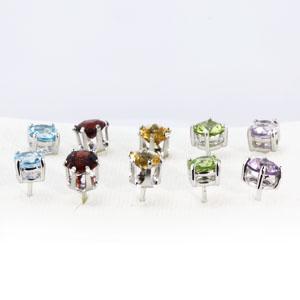 ต่างหูพลอยแท้ อะเมทิสต์ เพอริดอท โกเมน ซิทริน ปลูโทพาส gems earring มีใบเซอร์ เสริมดวง พลอยวันเกิด ราคาถูก