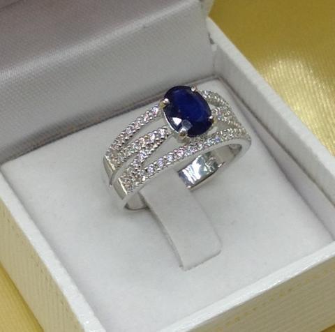 Blue Sapphire Ring แหวน พลอยแท้ พลอยไพลิน จันทบุรี อัญมณีสีน้ำเงิน ราศีกันย์ เสริมดวง แก้ชง ดูดวง สร้อยข้อมือ กำไล