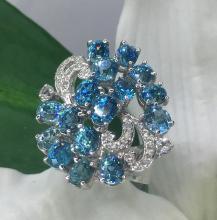 Blue Zircon ring พลอยเพทาย สีน้ำเงิน สีฟ้าเข้ม อัญมณี ไพลิน เพชร แก้ชง ดูดวง jewelry  พลอยเสริมดวง วันศุกร์ เสริมราศีธนู เพชร พลอยแท้ แหวน